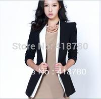 free shipping 2014 slim medium-long blazer one button ol suit women's outerwear women's fashion jacket women casual coat