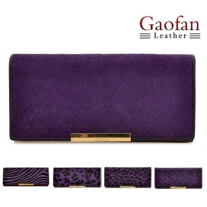 Gaofan Deep purple genuine horsehair women's long design wallet clutch women's clutch(China (Mainland))