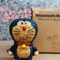Antique wood woodcarved DORAEMON piggy bank 6 hand-done doll dolls