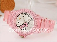 hello kitty brand watch bow cat face table diamand shinning girl student love gift 6 colors free shipping30pcs