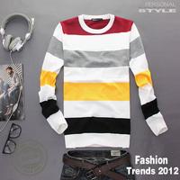 Free shipping sweater men 2013 autumn and winter sweater Men's fashion thin cotton sweater Striped sweater men