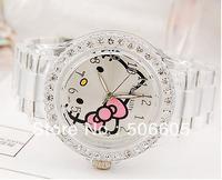 Wholesale fashion Plastic Quartz Wristwatches,New Style Hello Kitty watch Kids Cartoon Watch Transparent 5pcs