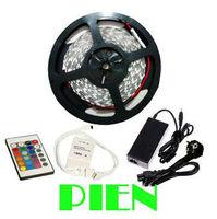 5050 RGB LED Strip Light Flexible 300LED/5M Non waterproof 12V Ribbon+24key Remote Control+6A Power Supply by Express 10set/lot