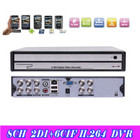 Freeshipping 8ch CCTV DVR recorder 2ch D1 +6ch cif recording Remote Network Mobile Phone View 8ch stand alone DVR Recorder