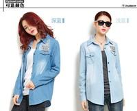 2013 new design autumn women slim cotton denim shirt, lady vintage cowboy shirt outerwear, 2 color option