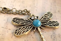 A3018 fashion accessories vintage dragonfly cutout necklace