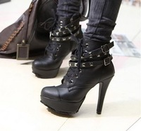 Lacing rivet boots platform boots platform high-heeled boots female