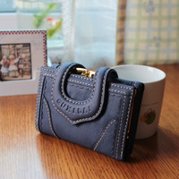 free shipping 2012 genuine leather women's wallet cowhide female short design wallet