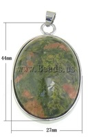 Free shipping!!!Unakite Pendants,Hot Selling, with Brass, Oval, 27x44x10mm, Hole:Approx 6.3x4.5mm, 10PCs/Bag, Sold By Bag