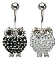 Free Shipping Body Jewelry Black Fashion Platinum Simple Oil Owl Needle Umbilical Ring Nail Navel Rings DD005