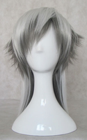 45cm White Grey short Shaggy Layered Anime Cosplay Costume Wig Free Shipping
