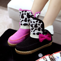2013 autumn and winter sweet casual boots scrub low-heeled preppy style princess bow boots snow boots