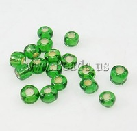 Free shipping!!!Silver Lined Glass Seed Beads,high fashion, Round, silver-lined, green, 3x3.60mm, Hole:Approx 1mm, Sold By Bag
