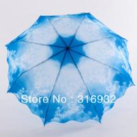 Waterproof Blue Sky&White Cloud Sun/Rain 3 Fold Manual princess Umbrella
