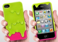 Luxury 3D Melt Plastic Ice Cream Skin Case for iphone 4s , Hard Back Case Covers for iphone 4s 4 4g Wholesale 50pcs/lot Free DHL