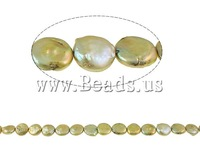 Free shipping!!!Coin Cultured Freshwater Pearl Beads,Wedding Jewelry, Button, gold, 13-14mm, Hole:Approx 1mm, Length:15 Inch