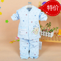 Fashion bear cardigan bamboo fibre boys thermal underwear set child plus cotton sleepwear robe autumn and winter lounge