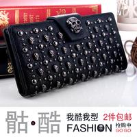 New arrival fashion skull wallet rivet women's long design wallet skull wallet personality rivet
