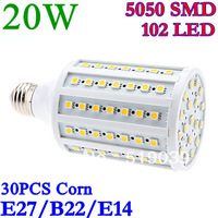 Low price promotion E27/E14/GU10/B22 20W 1680LM 5050SMD 102LED Corn bulb White/Warm white 220V 360 degress 30pcs DHL Shipping