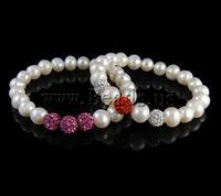 Free shipping!!!Freshwater Cultured Pearl Bracelet,Wholesale Lot, Cultured Freshwater Pearl, with Polymer Clay & Rhinestone