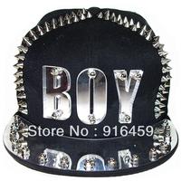 Promotion Free shipping boy gold white crystal PUNK Hiphop baseball snapback Rivet Spike studded Dance Cap hats