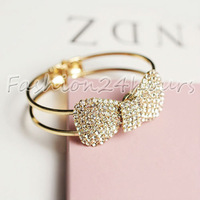 New Fashion Gold Plated Rhinestones Bowknot Bows Bangle Bracelet For Women Jewelry