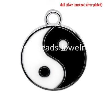 20 Silver Tone Enamel Tai Chi  Charm Pendants 25x20mm (B12096)8seasons