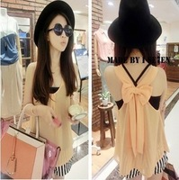 2014 Summer New Korean Tops Fashion Sleeveless Orange Back Bow Design Chiffon Vest For Women D20
