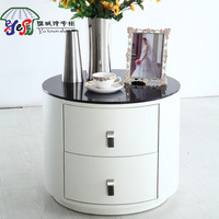 Hot-selling modern brief white round bedside cabinet storage cabinet round drawer cabinet circle leather bedside cabinet