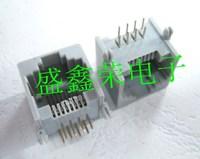 50pcs Free Shipping Rj45 socket ethernet port crystal head socket 623pcb-8p8c pcb socket grey eco-friendly gold plated needle