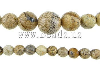 Free shipping!!!Picture Jasper Beads,for Jewelry, Round, imported, 6-14mm, Hole:Approx 0.8-1.5mm, Length:17.5 Inch