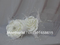 2013 In Stock White Wedding Hats Birdcage Face Veil Bridal Flower Pearl Feathers Fascinator