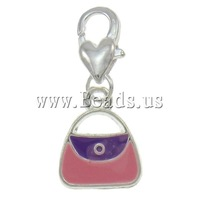 Free shipping!!!Zinc Alloy Lobster Clasp Charm,2013 new famous fashion brand, Handbag, silver color plated, enamel, nickel