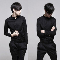 Japanese style collarless Men stand collar chinese tunic suit pure black and white shirt long-sleeve shirt slim male