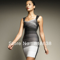 DHL free shipping 2013 high quality grey gradient ombre v neck sleeveless open back hl bandage dress ladies party evening dress