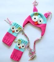 Owl style hook needle hat ear cap kneepad protector set