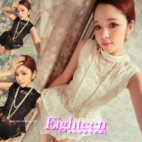 2013 sexy ladies elegant ruffle lace flower slim waist top skorts set