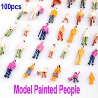 100pcs HO Scale 1:100 Mix Painted Model Train Park Street Passenger People/Figures Free Shipping wholesale