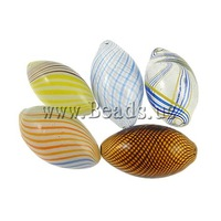 Free shipping!!!Blown Lampwork Beads,clearance sale with free shipping, Oval, handmade, mixed colors, (30-33)x(16-19)mm