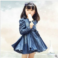 free shipping new fashion baby girls denim dress Children girls Long Sleeve Jeans Outwear Dress Kids Ruffles Fashion Dress