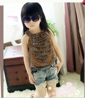 Summer Fashion Casual Leopard Grain Chiffon Sleeveless Gallus Girls Vest Tshirt 2-6Y Baby Kids Topwear Children t shirt Retail