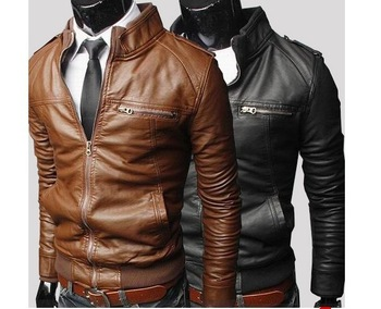 Free shipping Korean Style Men's Slim Zipper Designed PU Leather Coat Jacket 2 Colors/L XL XXL Brown Black dropship