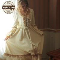 2014 Dream royal vintage flare sleeve lace princess nightgown home dress thickening 120468