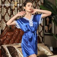 2014 Women's sleepwear sexy solid color short-sleeve sleepwear female set nightgown silky lounge