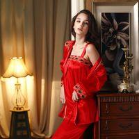 2014 Red marry sleepwear summer sexy female faux silk sleepwear spaghetti strap piece set lounge set