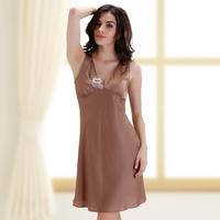 Rose embroidery deep V-neck sexy sleepwear women's nightgown faux silk sleepwear tank dress 3043