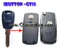Free Shipping  Remodeling Flip Shell  For Fiat  Bravo Punto  1 Button Remote Key GT15 Blade