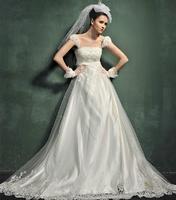 Free Shipping H882 Custom Pregnant High Waist Strap Bra Trailing Wedding Dress Wholesale 2013 Latest