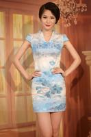 2013 summer gradient color fashion embroidery embroidered cheongsam dress short-sleeve design short cheongsam dress