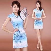 Summer elegant female purple blue gradient color embroidery cheongsam embroidered short-sleeve short cheongsam qipao